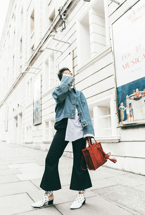 When in doubt, build your look around comfort. Rid the need of formfitting clothing by letting oversize pieces do the talking. On Sara Escudero: Topshop denim jacket, shirt, trousers, and shoes;...