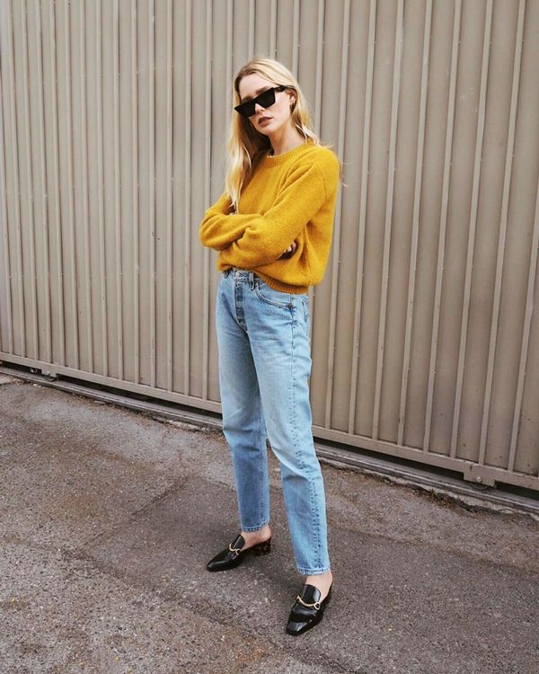 Jeans are always worth investing in, especially when they complement a cozy sweater like this one. Slip on a pair of sleek heeled mules for the perfect elevated touch. On Megan Adelaide: Stella...
