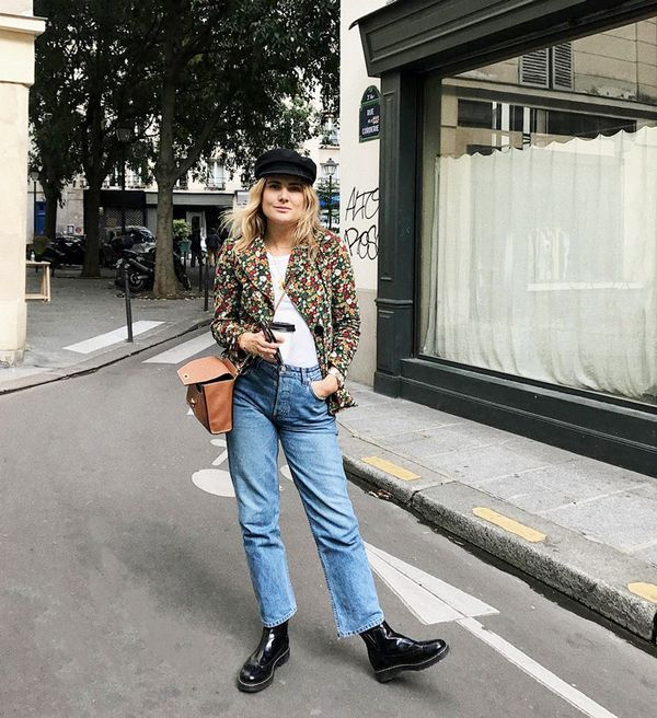 Let your accessories do the talking. A Parisian-inspired hat and patent leather boots make a simple outfit that much cooler. On Lucy Williams: Janessa Leoné hat; Joseph Glossed-Leather...