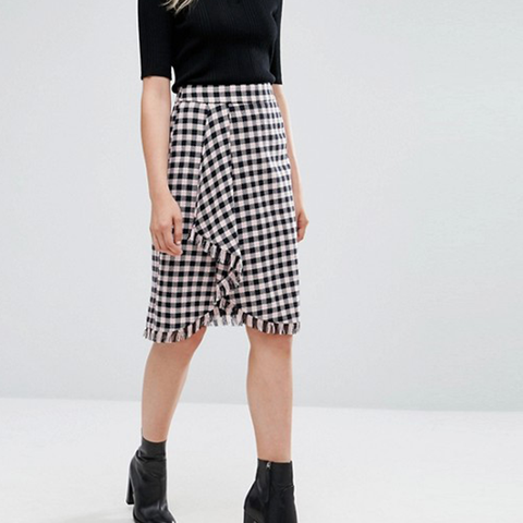 Diario Gingham Wrap Skirt
