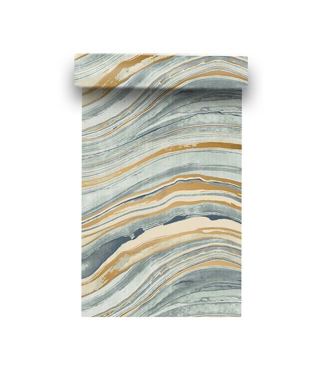 Walnut Wallpaper Travertine in Aquamarine & Gold