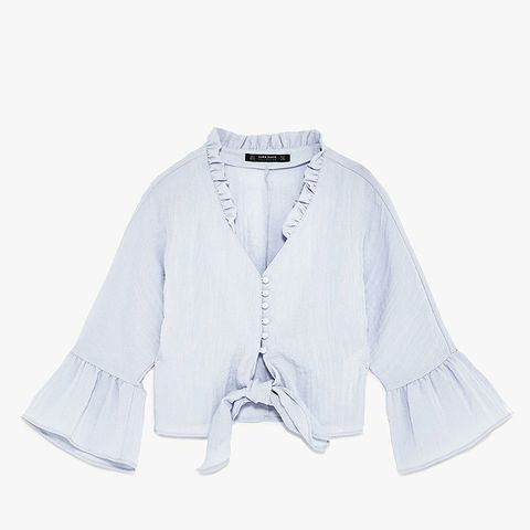 Cropped Knotted Blouse With Frills