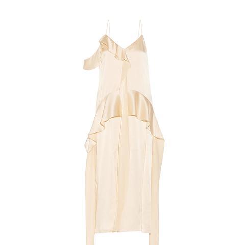 Ruffled Silk-Satin Midi Dress