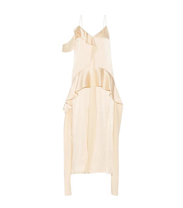 mom and me matching outfits - Jonathan Simkhai Ruffled Silk-Satin Midi Dress