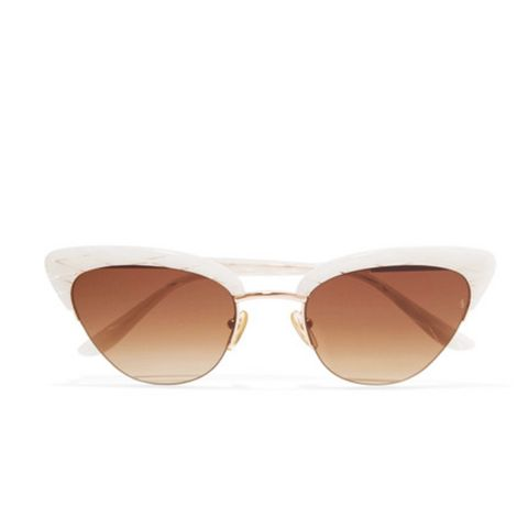 Pixie Cat-Eye Acetate and Rose Gold-Tone Sunglasses