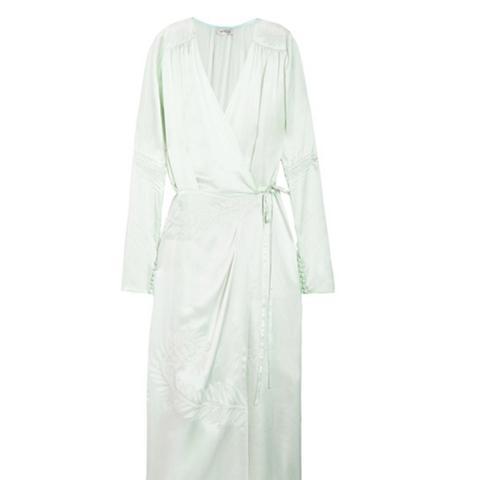 Gabriela Embroidered Silk-Satin Wrap Dress