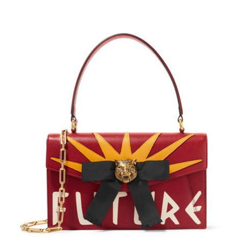 Osiride Embellished Textured-Leather Shoulder Bag