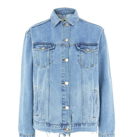 Ripped Oversized Western Denim Jacket