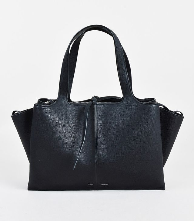 "Celine Black Pebbled Leather ""Medium Tri Fold"" Shoulder Bag"