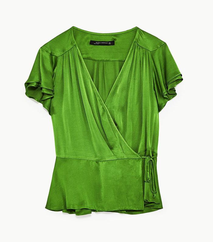Zara wedding guest outfits: green blouse