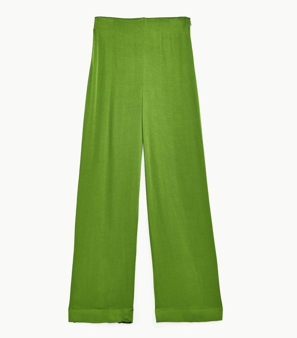 Zara wedding guest outfits: green trousers