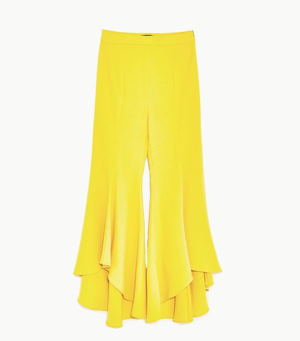 Zara wedding guest outfits: yellow trousers