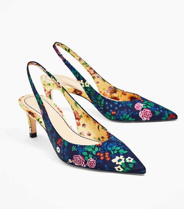 Zara wedding guest outfits: floral slingbacks