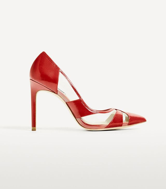 Zara Vinyl Red Court Shoe