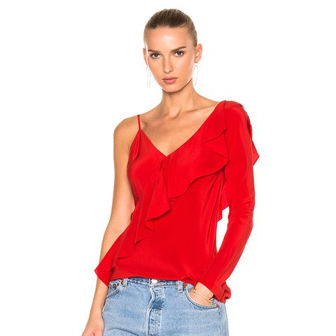 Asymmetrical Sleeve Ruffle Front Blouse