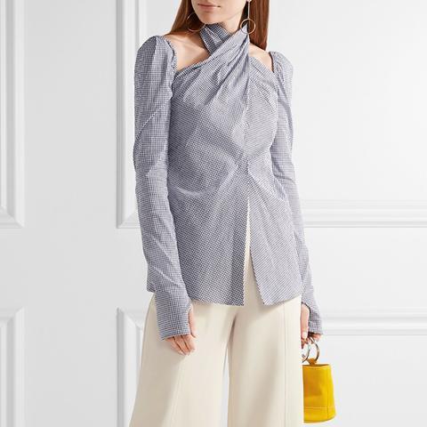 Cutout Gingham Cotton-Blend Seersucker Top