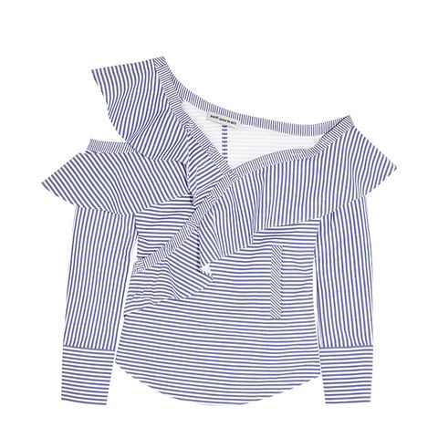 Off-the-Shoulder Ruffled Striped Cotton Poplin Top