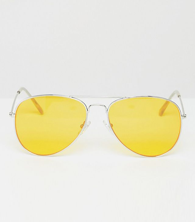 Jeepers Peppers Aviator Sunglasses with Yellow Tinted Lens