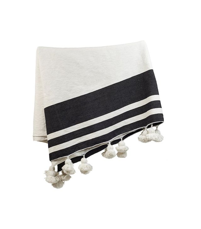 Consort Moroccan White and Black Stripe Pom Pom Throw