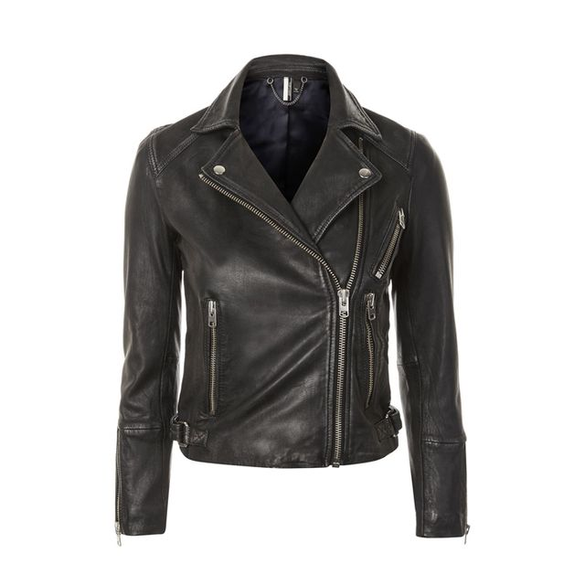 Topshop Washed Leather Biker Jacket