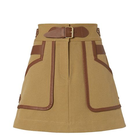 Leather Trimmed Khaki Skirt