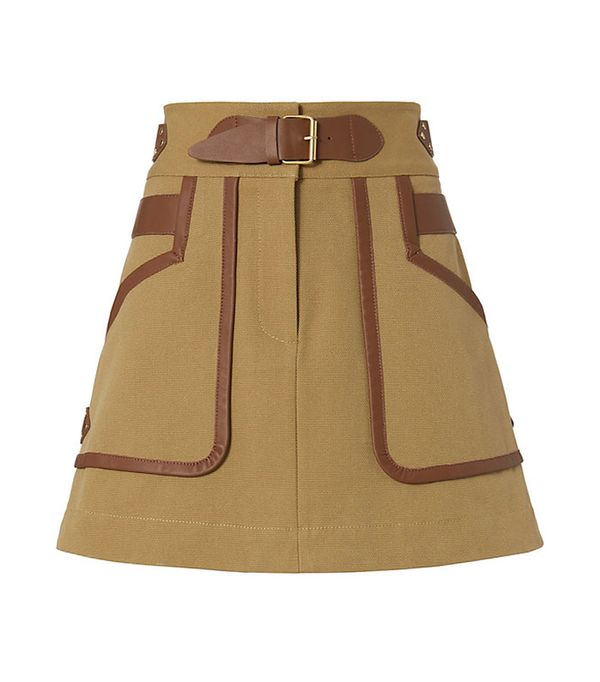 10 Crosby Derek Lam Leather Trimmed Khaki Skirt