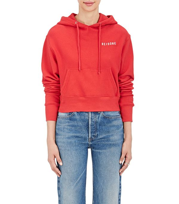 Re/Done Cropped Cotton Hoodie