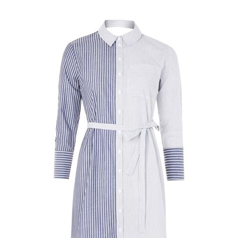 Stripe Wrap Back Shirtdress