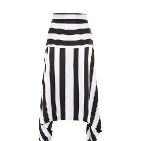 Sandwashed Stripe Silk Skirt by Boutique
