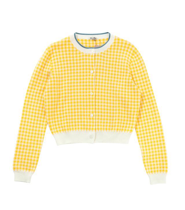 Miu Miu Yellow Cotton Knitwear