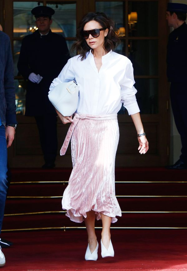 What to wear with a pleated skirt: Victoria Beckham