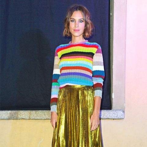 What to wear with a pleated skirt: Alexa Chung in Gucci