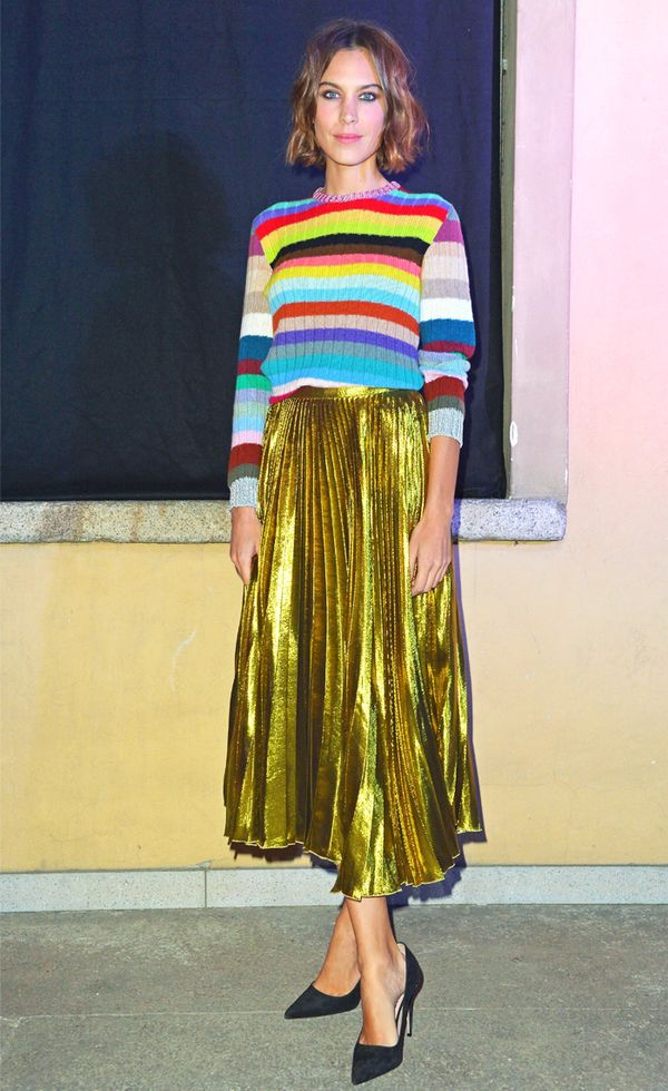 What to wear with a pleated skirt: Alexa Chung