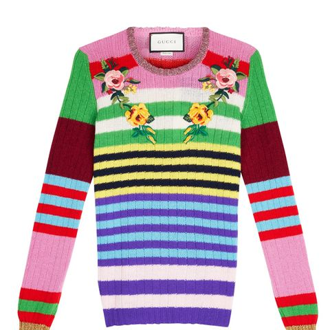 Appliqué Striped Wool & Cashmere Sweater