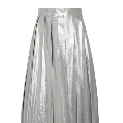 Pleated Metallic Cotton Midi Skirt