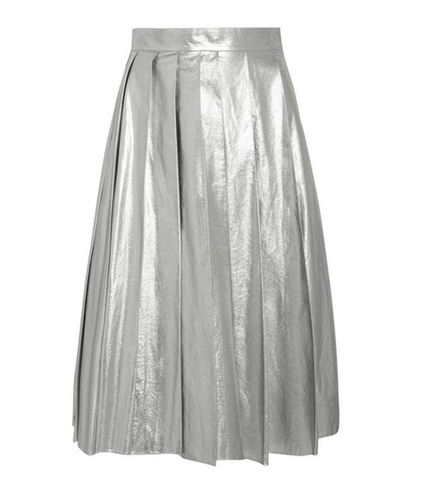 What to wear with a pleated skirt: A.W.A.K.E silver skirt