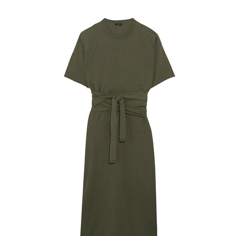 Ivana Tie-Front Cotton-Jersey Midi Dress