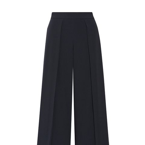 Rowe Cropped Pleated Crepe Wide-Leg Pants