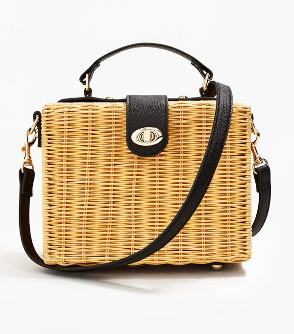 Gingham top and basket bag: Mango bamboo bag