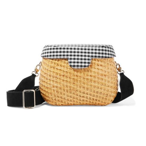 Jane Gingham Canvas-Paneled and Wicker Shoulder Bag