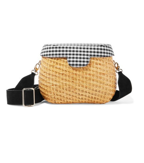 Gingham top and basket bag: Edie Parker basket bag
