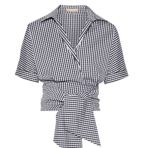 Cropped Gingham Cotton-Blend Poplin Wrap Top
