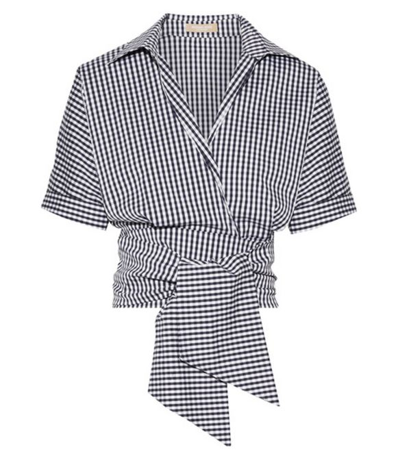 Gingham top and basket bag:  Michael Kors collection top