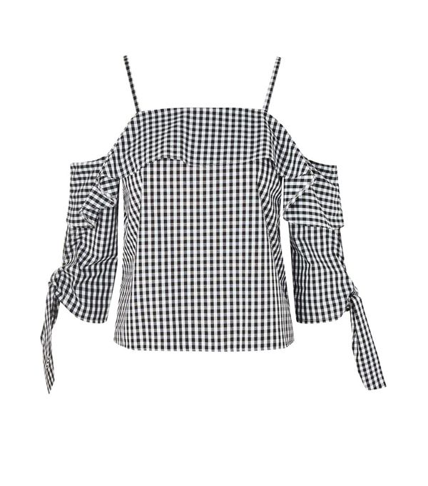 Gingham top and basket bag: Topshop gingham off-the-shoulder top