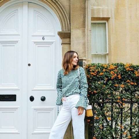 Gingham top and basket bag: Liv Purvis