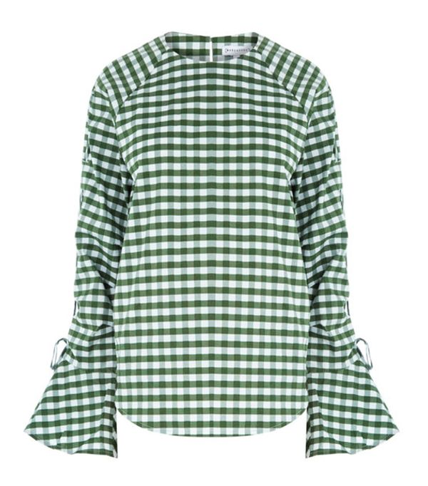 Gingham top and basket bag: Warehouse green gingham top