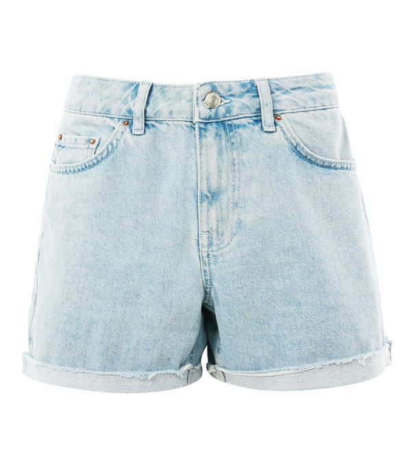 Gingham top and basket bag: Topshop boyfriend shorts