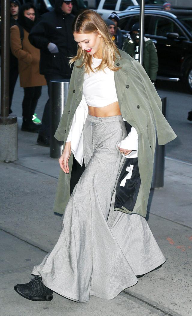 Celebrities wearing Yeezys: Karlie Kloss