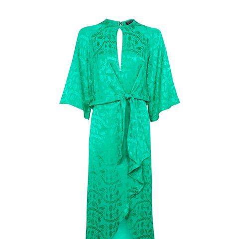 Jaquard Knot Front Midi Dress