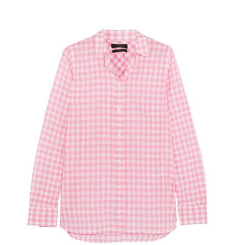 Boy Gingham Crinkled-Cotton Shirt